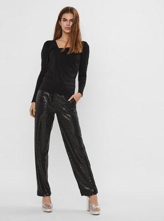 Čierne tričko s asymetrickým výstrihom VERO MODA