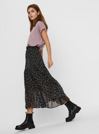 Černá květovaná midi sukně VERO MODA