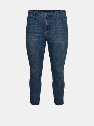 Modré zkrácené skinny fit džíny VERO MODA CURVE