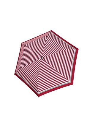 Doppler Carbonsteel SLIM Delight červený pruhovaný skládací plochý deštník - Červená