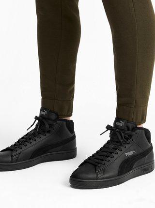 Černé pánské kožené kotníkové tenisky Puma Smash V2