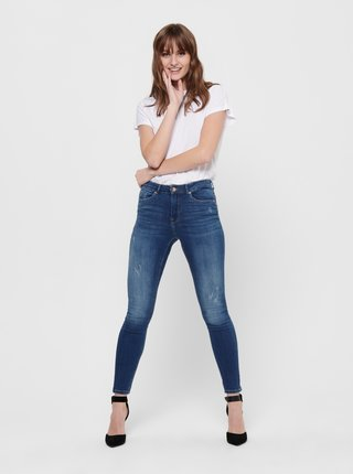 Modré zkrácené skinny fit džíny ONLY Paola