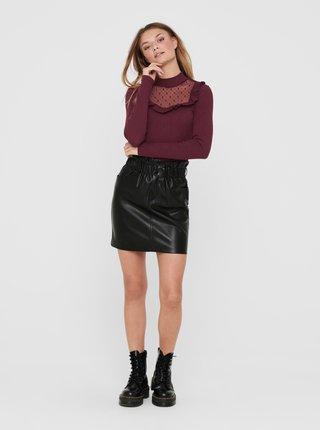 Černá koženková sukně ONLY