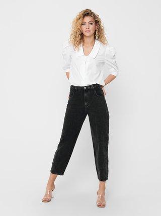 Černé zkrácené mom fit džíny ONLY