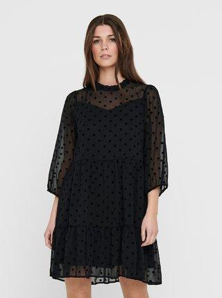 Černé puntíkované volné šaty ONLY
