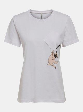 Bílé tričko s potiskem ONLY