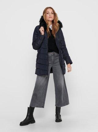 Tmavě modrý zimní prošívaný kabát ONLY-New Minea