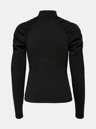 Černé tričko s nařasenými rukávy ONLY