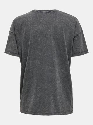 Šedé volné tričko s potiskem ONLY