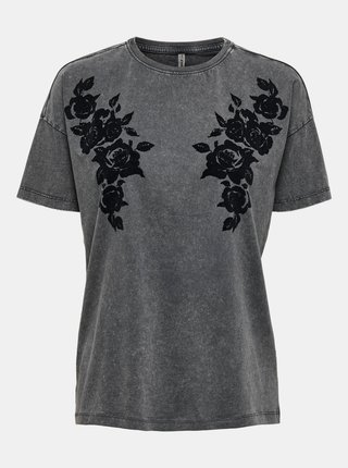Šedé voľné tričko s potlačou ONLY