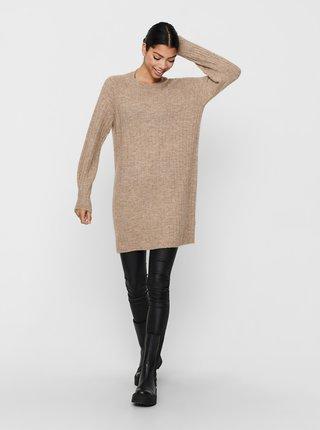 Béžové svetrové šaty ONLY