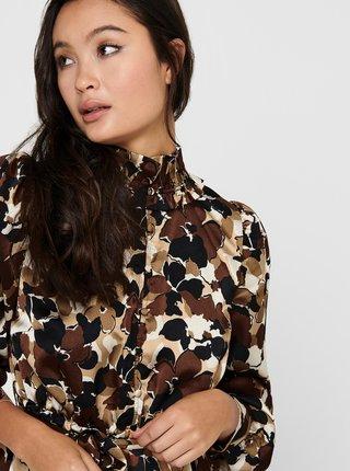 Hnedé kvetované košeľové maxišaty ONLY