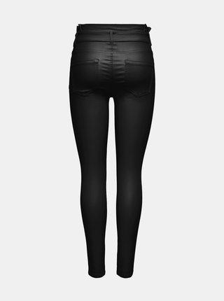 Čierne koženkové skinny fit nohavice ONLY