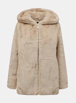 Béžový kabát z umělého kožíšku TALLY WEiJL