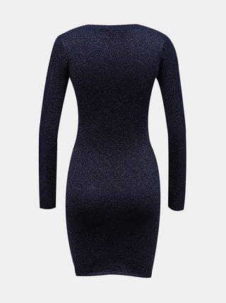 Tmavě modré svetrové pouzdrové šaty TALLY WEiJL