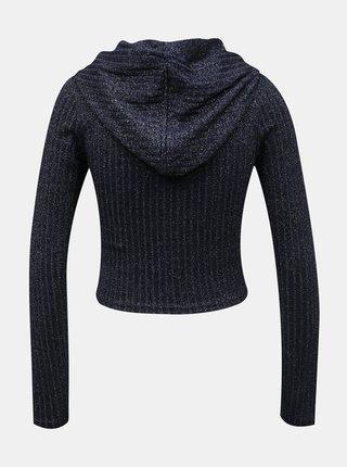 Tmavě modrý krátký třpytivý svetr TALLY WEiJL