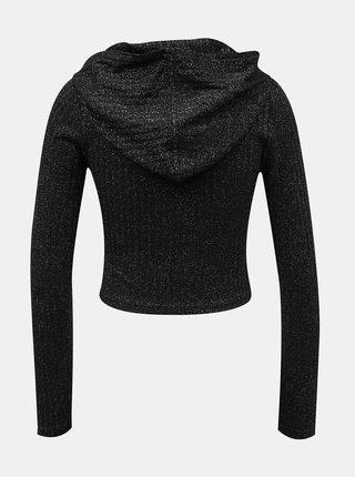 Čierny krátky trblietavý sveter TALLY WEiJL
