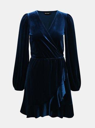 Tmavě modré sametové šaty TALLY WEiJL