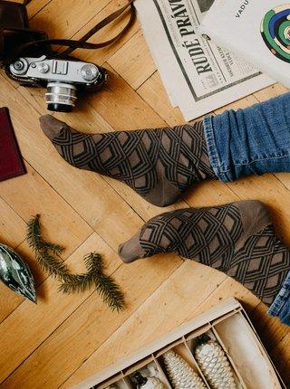 Hnědé vzorované ponožky ZOOT Original Retro