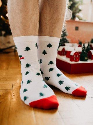 Biele vzorované ponožky ZOOT Original Stromčeky