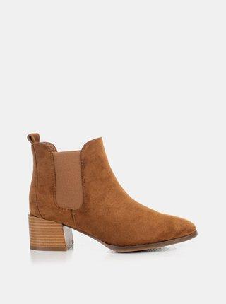 Hnědé dámské kotníkové boty v semišové úpravě MUSK