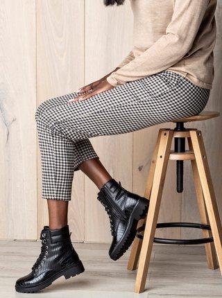 Čierne dámske členkové topánky s hadím vzorom MUSK