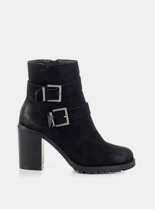 Čierne dámske členkové topánky na podpätku MUSK