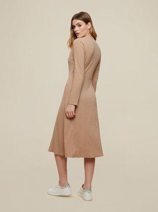 Světle hnědé šaty s knoflíky Dorothy Perkins
