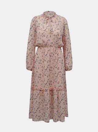 Růžové květované maxišaty Miss Selfridge