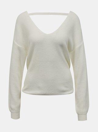 Krémový sveter s výstrihom na chrbte Miss Selfridge