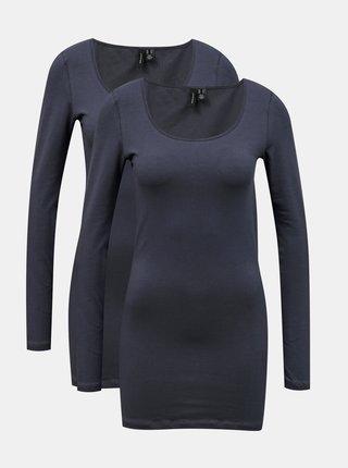Sada dvou dlouhých basic triček v tmavě modré barvě VERO MODA