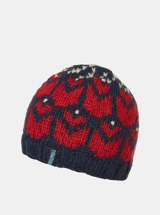Modro-červená dámska vlnená čiapka Tranquillo