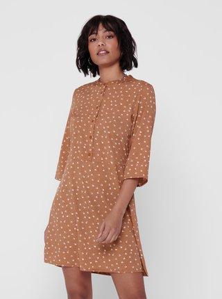 Hnědé vzorované šaty Jacqueline de Yong Ora