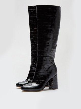 Černé lesklé kozačky s hadím vzorem Dorothy Perkins