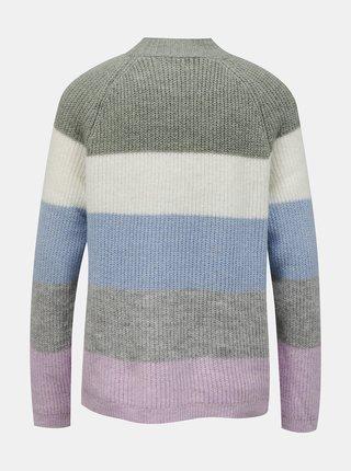 Fialovo-šedý pruhovaný sveter ONLY