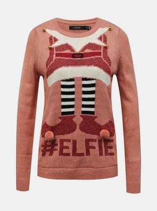 Ružový sveter s vianočným motívom VERO MODA