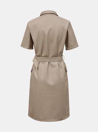 Béžové koženkové košeľové šaty Noisy May