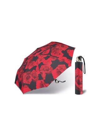 Happy Rain Red Rose dámský skládací plně automatický deštník - Červená