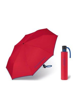 United Colors of Benetton Mini AC Red - vystřelovací červený deštník s modrým lemem - Červená