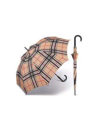 Happy Rain Long Checks Camel holový károvaný deštník v béžové barvě - Béžová