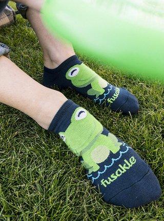 Modré vzorované kotníkové ponožky Fusakle Žába