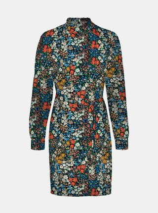 Modré květované pouzdrové šaty VERO MODA Selma