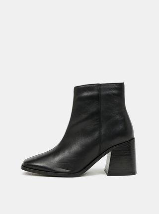Černé kožené kotníkové boty Dorothy Perkins