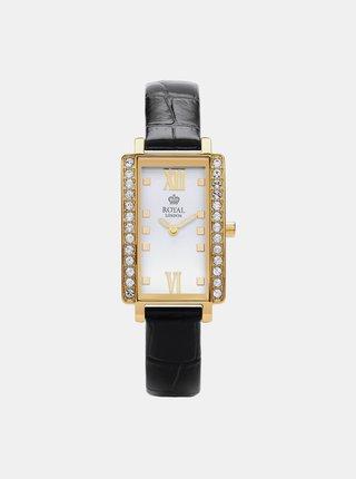 Dámské hodinky s černým koženým páskem Royal London 2018