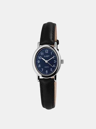 Dámské hodinky s černým koženým páskem Just