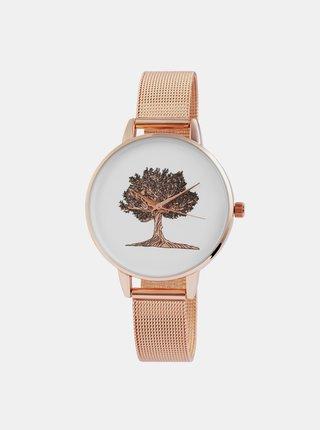Dámské hodinky s nerezovým páskem v růžovozlaté barvě Excellanc