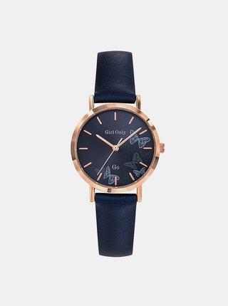 Dámské hodinky s tmavě modrým koženým páskem  Girl Only
