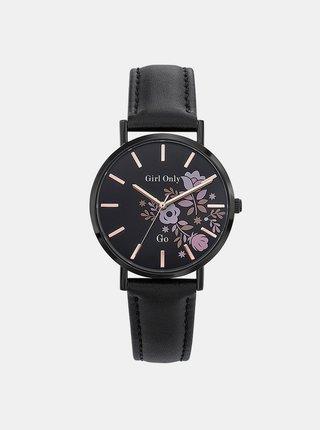 Dámské hodinky s černým koženým páskem Girl Only