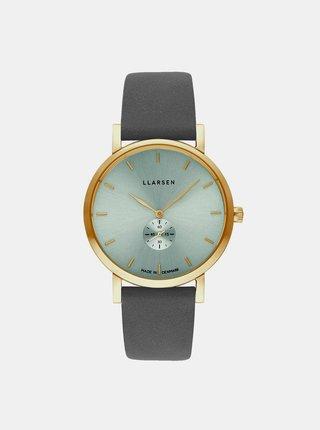 Dámské hodinky s šedým koženým páskem LLarsen