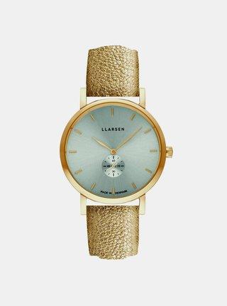 Dámské hodinky se zlatým koženým páskem LLarsen